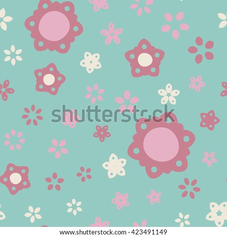 Seamless floral pattern with summer colored flowers. Vector repeating texture.