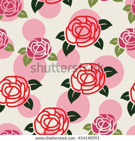 seamless floral pattern with symbols of roses - stock vector