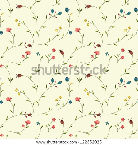 Seamless floral pattern with tiny flowers - stock vector