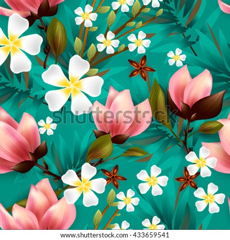 Seamless floral pattern with tropical flowers.Lilly, calla and alstroemeria seamless pattern.