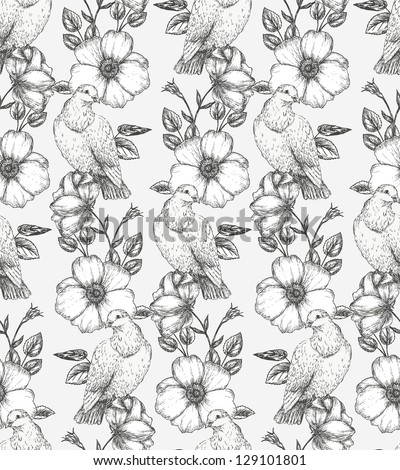 Seamless floral pattern with vintage flowers and birds - stock vector