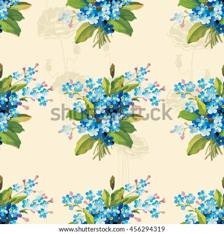 Seamless floral pattern with vintage flowers Vector Illustration EPS8 - stock vector