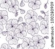 Seamless floral pattern with vintage pansies (violet) flower. Monochrome. - stock vector