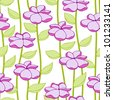 Seamless floral pattern with vintage  simple solid flower - stock photo