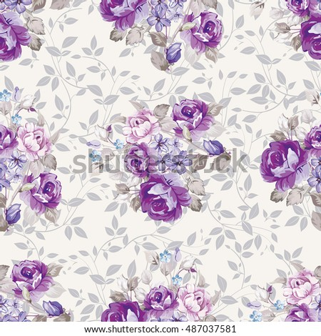 Seamless floral pattern with violet roses Vector Illustration EPS8