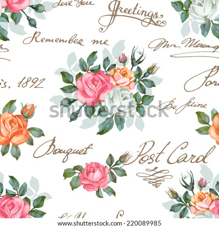 Seamless floral pattern with words, flower vector illustration. Elegance wallpaper with of  roses on floral background. Decorative vector illustration texture. Shabby chic rose. Hand write words - stock vector