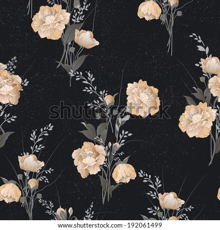 Seamless floral pattern with yellow roses on black background, watercolor. Vector illustration. - stock vector