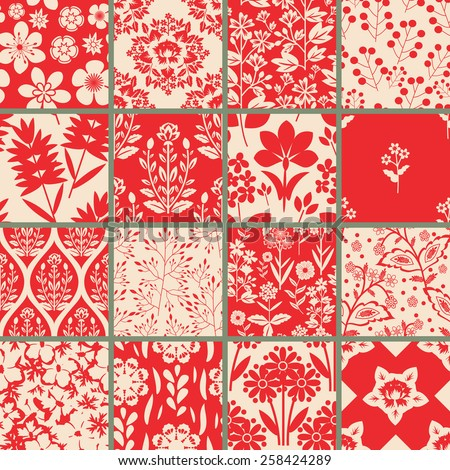 Seamless floral patterns set - stock vector