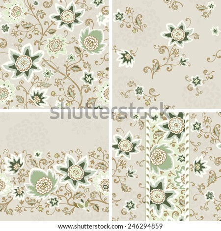 Seamless floral patterns set. Vector backgrounds and borders with flowers and birds. - stock vector