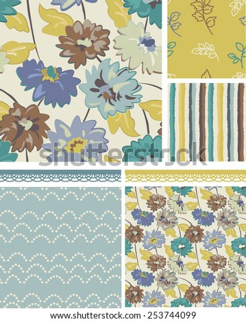 Seamless Floral Patterns. Use as fills, digital paper, or print off onto fabric to create unique items. - stock vector
