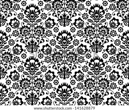 Seamless floral polish pattern - ethnic background in black and white
