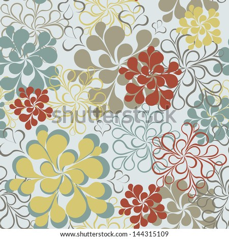 Seamless floral retro background. Vector seamless colorful pattern background. Ornament with flowers. Vintage style.
