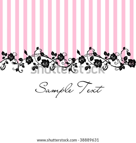 Seamless Floral Rose pattern with pink stripes - stock vector