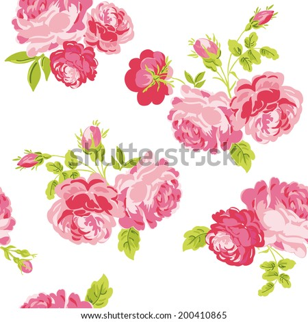Seamless Floral Shabby Chic Background - in vector - stock vector