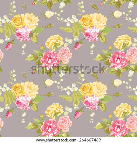 Seamless Floral Shabby Chic Background - Vintage Roses Flower- in vector - stock vector