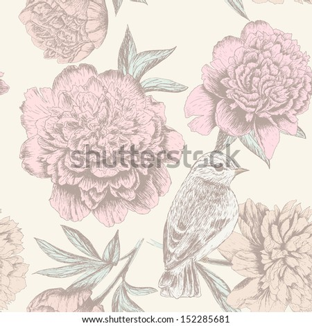 Seamless floral sketch pattern with bird and peony. Shabby chic flower background for you design and scrapbooking. - stock vector