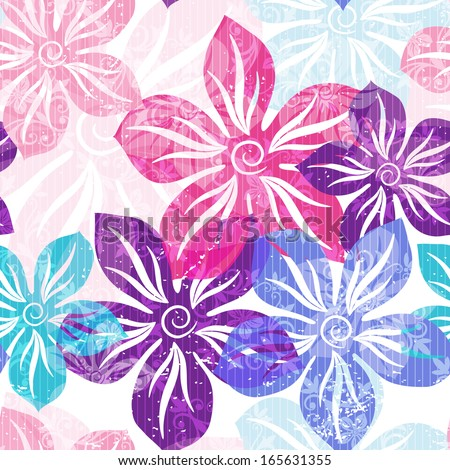 Seamless floral spring pattern with pastel translucent colorful flowers and curls (vector EPS 10) - stock vector