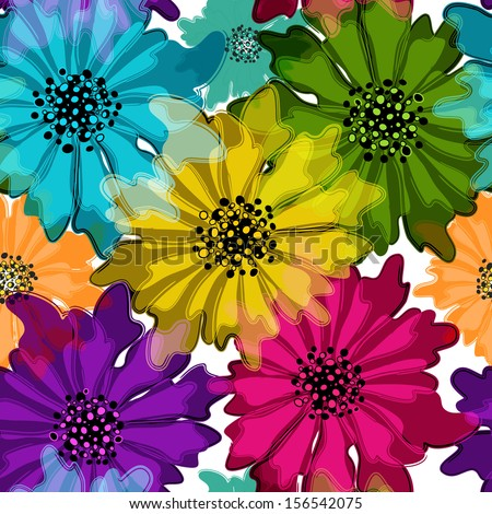 Seamless floral spring pattern with vivid translucent colorful flowers on white (vector EPS 10) - stock vector