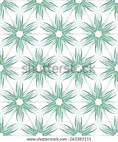 Seamless floral texture. Hexagons and triangles pattern. Vector art. - stock vector