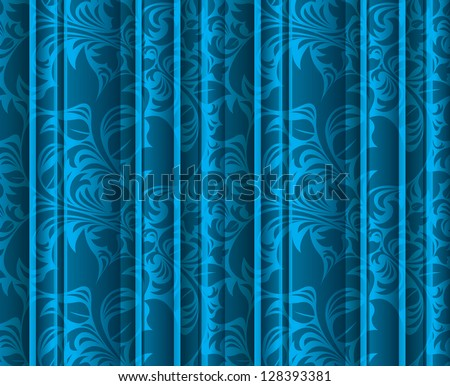 Seamless floral texture on the blue volumetric curtains (background). Vintage floral texture (drapes). - stock vector