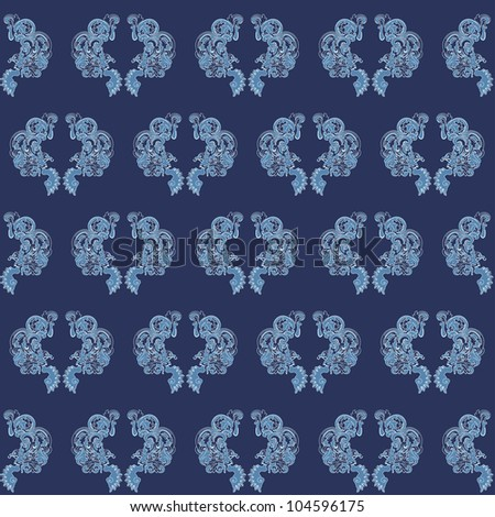 Seamless floral texture with blue garlands - stock vector