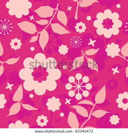 seamless floral texture with decorative flowers in red and pink - stock vector