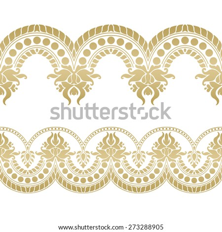 Seamless floral tiling border. Inspired by old indian ornaments - stock vector