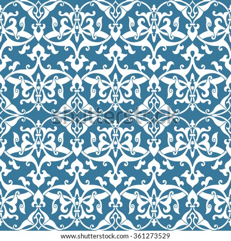 Seamless floral tiling pattern. Inspired by old ottoman ornaments