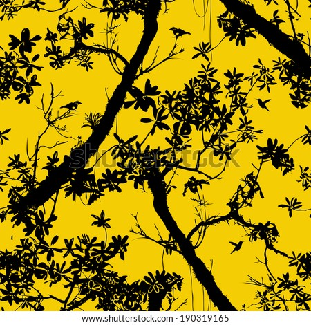 Seamless floral vector pattern inspired by plants and nature of jungle and rainforests, with silhouettes of tropical trees and leaves, small birds and hummingbirds in black and yellow colors - stock vector