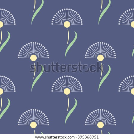 Seamless floral vector pattern.Symmetrical blue background with flowers. Decorative repeating ornament, Series of Floral and Decorative Seamless Pattern. - stock vector