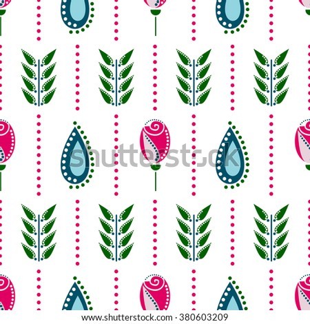 Seamless floral vector pattern. Symmetrical colorful ornamental background with flowers. Decorative repeating ornament, Series of Floral and Decorative Seamless Pattern. - stock vector