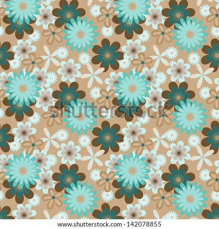 Seamless floral vector pattern with many colored flowers on beige background - stock vector