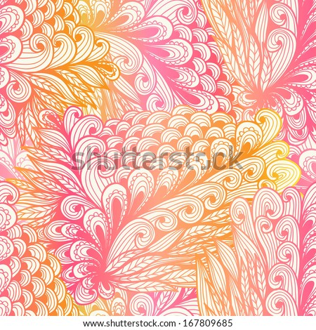 Seamless floral vintage pink gradient doodle pattern with spirals - stock vector