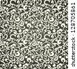 Seamless floral wallpaper, monochrome swirls design, elegant - stock vector