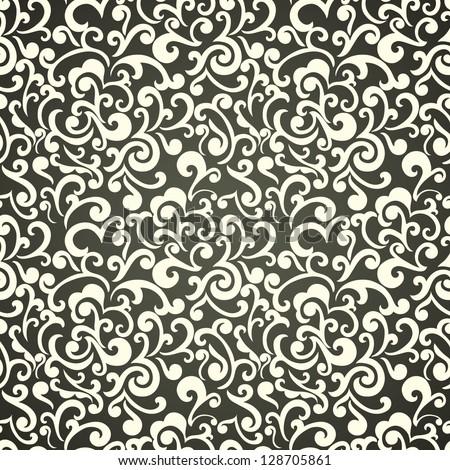 Seamless floral wallpaper, monochrome swirls design, elegant - stock vector
