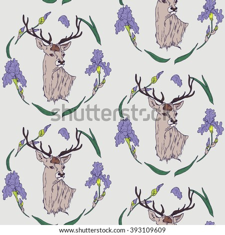 Seamless floral wallpaper with hand drawn deer in circlet of flowers in vector - stock vector