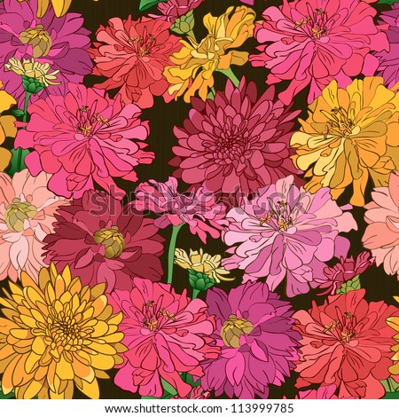Seamless floral wallpaper with hand-drawn flowers, brightly-colored on dark background - stock vector