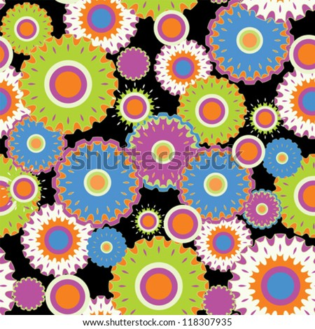 Seamless flourish circle with black background - stock vector