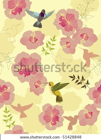 Seamless flower background with hummingbirds. Easy to edit vector image. Ready to use as swatch. - stock vector
