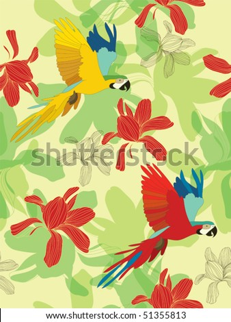 Seamless flower background with parrots. Easy to edit vector image. Ready to use as swatch. - stock vector