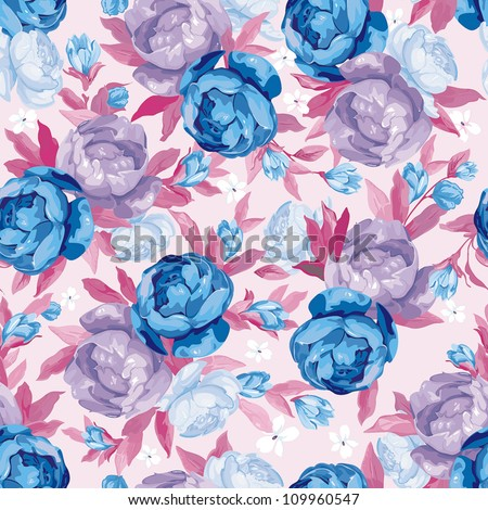 Seamless flower background with wild roses, vintage retro style