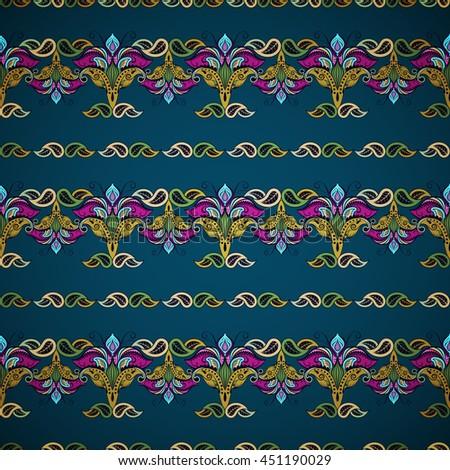 Seamless flower borders. Blue, green, pink shades. Dark background. Vintage oriental style - stock vector