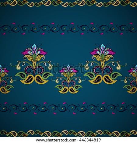 Seamless flower borders. Vintage oriental style - stock vector