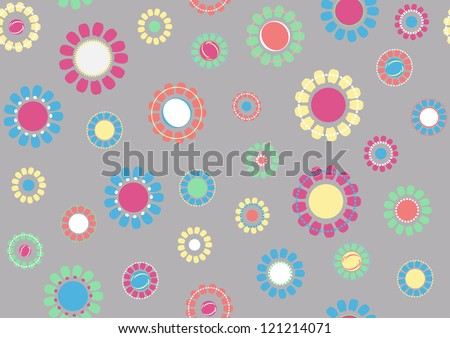 Seamless flower color romantic pattern on gray background