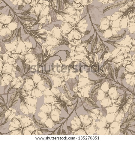 Seamless flower drawing pattern - stock vector