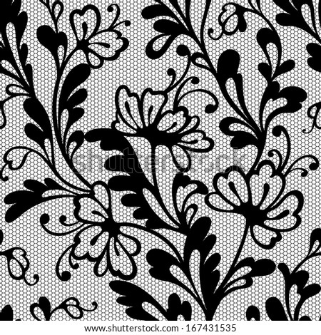 Seamless flower lace pattern - stock vector