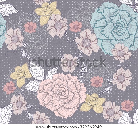 Seamless flower pattern - stock vector
