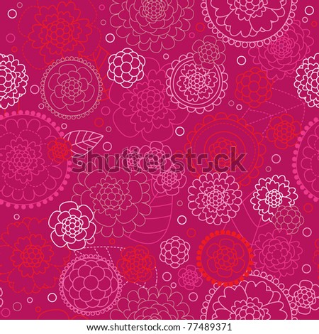 Seamless flower pattern doodle background in vector - stock vector
