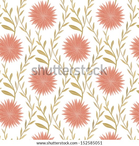 Seamless flower pattern in country style, vector - stock vector
