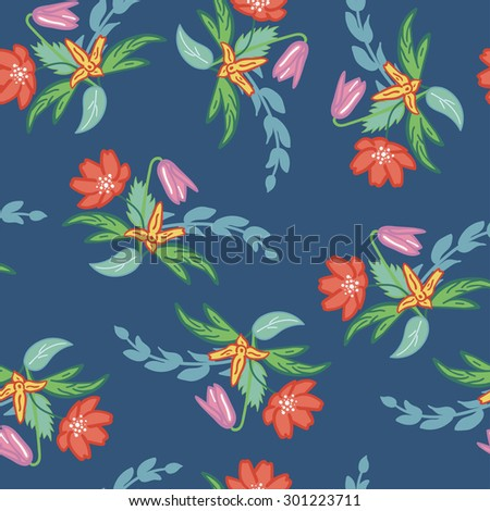 Seamless flower pattern made from flowers bouquets
